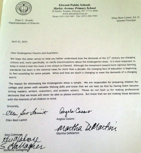 Elwood Kindergarten Play Canceled
